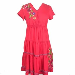 Johnny Was Red Tiered V-Neck Embroidered Dress M